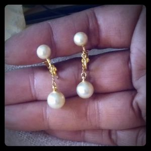 Vintage Signed Trifari Faux Pearl Dangle Earrings